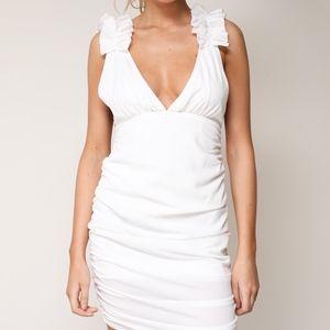 RUCHED WHITE MINI DRESS